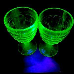 Pair of Vintage Uranium Glass Sherbet Cups